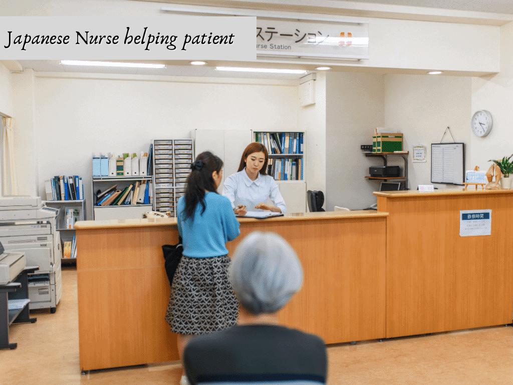 Japanese Nurse helping patient