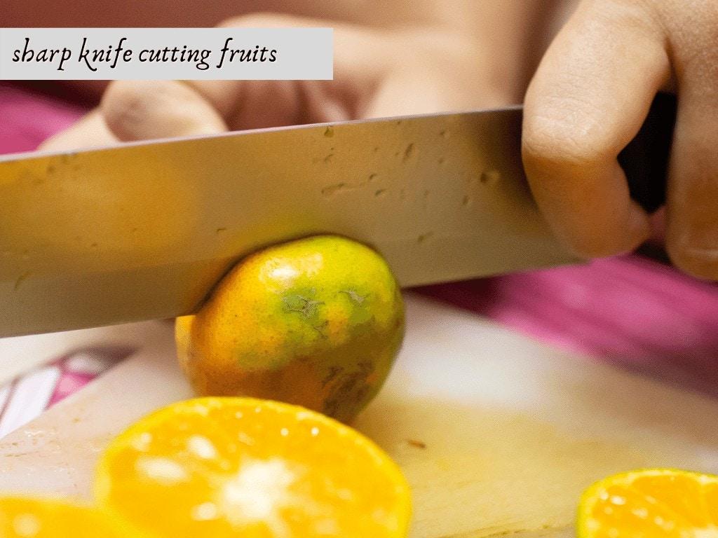 sharp knife cutting fruits